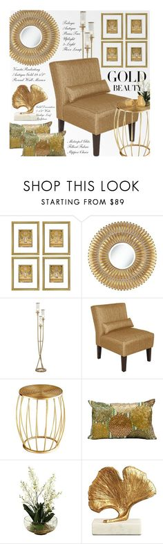 """""""Gold Beauty"""" by beebeely-look ❤ liked on Polyvore featuring interior, interiors, interior design, home, home decor, interior decorating, Noble Park, Cyan Design, Kathy Ireland and homedecor"""