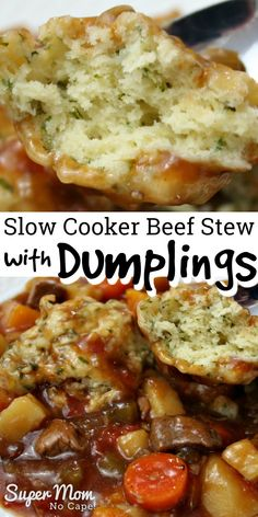 Get this recipe in the slow cooker in the morning before heading off to work. Come home a house filled with the aroma of beef stew that's been cooking all day. Add the dumplings 20 minutes before you Beef Stew Crockpot Easy, Crockpot Dishes, Slow Cooker Beef, Crockpot Recipes, Crockpot Beefstew, Beef Dishes, Slow Cooking, Meat Recipes, Cooker Recipes