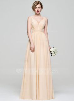 cc30c3a78cc ... V-neck Floor-Length Ruffle Zipper Up Spaghetti Straps Sleeveless No  Other Colors Spring Summer Fall General Plus Chiffon US 2   UK 6   EU 32  Prom Dress