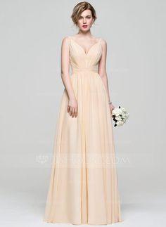 [NZ$ 166.73] A-Line/Princess V-neck Floor-Length Chiffon Prom Dress With Ruffle (018112673)