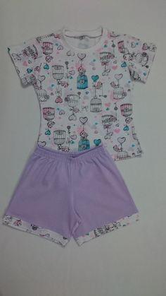 c5d9b4f4998 Pijama infantil feminino. Calça pescador e blusinha regata.