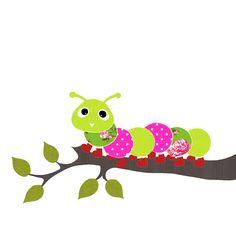 Vrolijk de babykamer of kinderkamer snel en eenvoudig op met deze tak met een kleurrijke rups erop, gemaakt van behang.