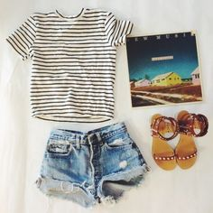 """via SeaofShoes, """"a morning record selection and a simple outfit."""" I love the striped tee!"""