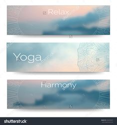 Yoga vector banner. Professional banner templates or banner design for yoga studio, for yoga website, yoga magazine, publishing, print or presentation. Banner design with blurred photo with your text.