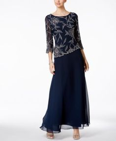 J Kara Hand-Beaded A-Line Gown   macys.com