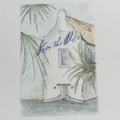 Save the Date! Wedding stationary hand painted, hand lettered calligraphy of Rosemary Beach, FL town hall by debbiebernet@gmail.com