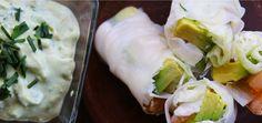 Receta de Rollo de Papel de Arroz relleno con Camarones, Palta, Lechuga y Queso Crema con Salsa de Palta | CherryTomate