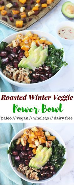 An easy Roasted Winter Veggie Power Bowl loaded with seasonal produce, healthy fats, carbs, and fiber & topped with a simple tahini dressing. This bowl is gluten free, vegan, paleo, and also customizable to your liking! - Eat the Gains