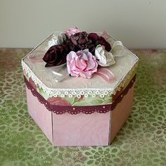 how to make a hexagonal box from card stock and pretty paper