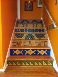 Stair risers painted with tribal patterns