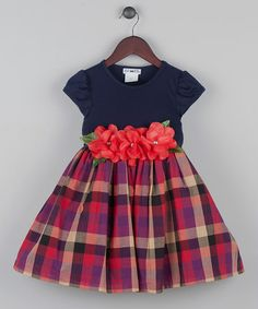 Look what I found on #zulily! Navy Plaid Rosette Dress - Infant, Toddler & Girls #zulilyfinds