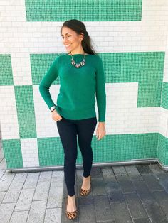 bb67d9e6fedc1f Loft sweater Holiday style Green Shirt Outfits, Green Sweater Outfit, Dark  Jeans Outfit,