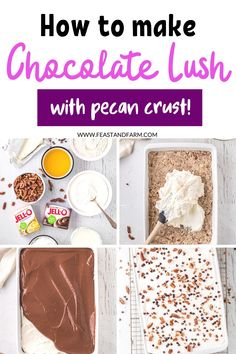 Make this crowd-pleasing dessert for your next potluck. With layers of pudding and whipped cream and topped with crunchy pecans, this sinful recipe can be made ahead of time and devoured in minutes! Shortbread Cookie Crust, Easy Homemade Desserts, Real Food Recipes, Dessert Recipes, Chocolate Delight, Healthy Comfort Food, Instant Pudding, Chocolate Pudding, How To Make Chocolate