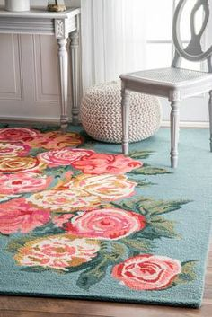 Rugs USA Light Blue Topall Beautiful Rose Bouquet rug - Country & Floral Rectangle 3' x 5'