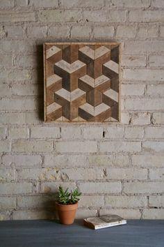 Teruggewonnen hout Wall Art Decor, lat., geometrische patroon, betegeling, klein
