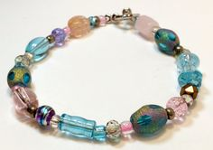 Pink Blue and Purple Pastel 8 inch Beaded by B4Jjewelrydesigns