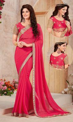 Shop Traditional Magenta Embroidered Wedding Party Saree (SKU Code…