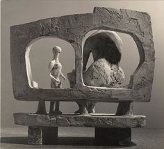 Henry Moore, Mother and Child against Open Wall (plaster maquette for UNESCO commission 1956-57) 1956, 15 3/4 x 19 3/4 in / 40 x 50.2 cm. Gelatin silver print mounted on stock card (c.1956). Photo: Courtesy of Waddington Custot Galleries.