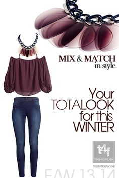 MIX & MATCH IN STYLE WITH T4F JEWELLERY!  - Ladies, time to shine!  SHOP @ http://www.trash4flash.bigcartel.com/  ( Top & Jeans by #H&M – Necklace by #trash4flash)  #FW13-14 #fashionjewellery #fashion #necklace #winter #collections #totallook  www.trash4flash.com