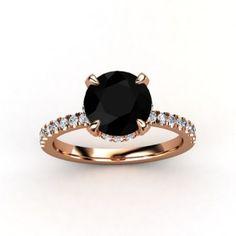 nice 27 Rose Gold Engagement Ring with Black Diamond  https://viscawedding.com/2017/04/15/rose-gold-engagement-ring-black-diamond/