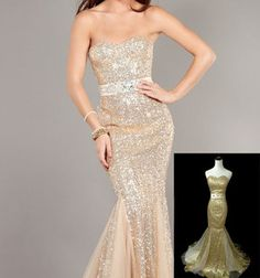 N504 Champagne/Gold Bridal Cocktail Sequins Evening Stunning Party Dress UK6-18
