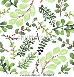 Watercolor Leaves and Branches Seamless Pattern