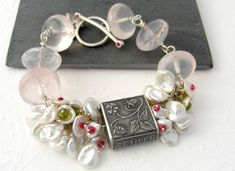 Gemstones pearl bracelet with Anne Choi bead, pink Quartz, sterling silver, keishi pearls, spinel, ruby, cluster bracelet