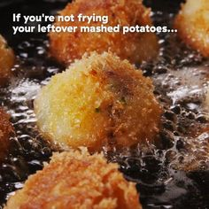 Fried Mashed Potato Balls So decadent, so unhealthy, but so delicious! This easy recipe turns those sad leftover mashed potatoes into something MAGICAL. Get the recipe at . Mashed Potato Balls Recipe, Fried Mashed Potatoes, Leftover Mashed Potatoes, Mashed Potato Recipes, Baked Potatoes, Tasty Videos, Food Videos, Appetizer Recipes, Snacks Recipes