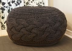 "@Luisa Pasquale Teach me how to do this!! ;-) DIY Knitting PATTERN - Pouffe / Footstool / Ottoman Super Chunky Cable Knit (approx.) 25"" diameter x 16.5"" high"
