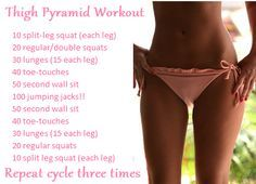 thigh pyramid workout  I tried this tonight. Let me tell you, it's not easy but I can tell it will give results quickly. If you're struggling with the gap inbetween your thys, I would suggest this :)