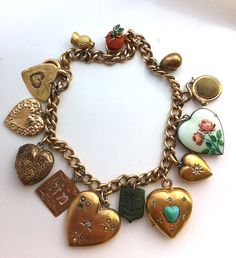 Stunning Antique Victorian 18K, 14k, 10K, 8K Gold and Sterling Silver Charm Bracelet / Lots of Hearts and Lockets..