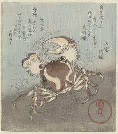 Krab loopt langs water, Kunisada (I) , Utagawa, c. 1820 - c. 1825