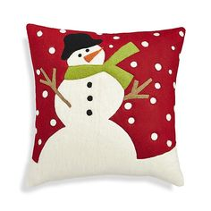 """Shop Snow Day 18"""" Holiday Snowman Pillow.  A joyful snowman greets a snowy day with outstretched arms in this whimsical design by Joan Anderson of A&B Designs."""