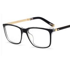 2017 New Optical Plain Mirror Square frame Good Quality Eyeglasses Frames Men Women PC + Metal Eye Glasses Frame for Myopia