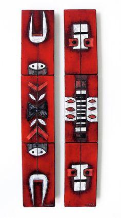 Oswald Tieberghien; Glazed Ceramic Tiles Mounted on Wood Panels, 1960s.