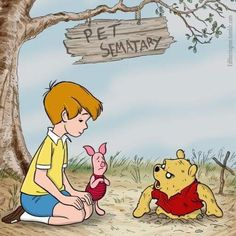 Pet Sematary / Winnie the Pooh mash-up Horror Movie Characters, Horror Movies, Disney Characters, Dark Disney, Disney Art, Creepy Disney, Disney Horror, Pet Sematary, Twisted Disney