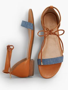 Sailor Tie-Strap Sandals-Chambray & Leather | Talbots
