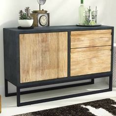 Sideboard with wooden door and 2 drawers.  Dark distressed,  metal,  wood,  cabinet,  dining #ad