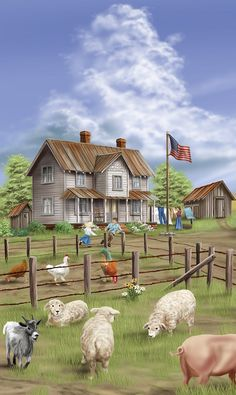 """Old Farm House.Painting ~ perfect for our """"Old Fashion Vintage Farm House"""" ~ Arte Country, Country Life, Country Living, Cenas Do Interior, Farm Paintings, Farm Art, House Illustration, Old Farm Houses, Country Scenes"""
