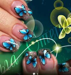 Butterfly Makeup, Butterfly Nail Art, Nail Effects, Love Nails, Nail Art Designs, Gel Nails, Beauty, Designed Nails, Butterflies