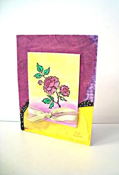 Best Wishes Purple Rose Yellow watercolor card by Wcards on Etsy, $3.00