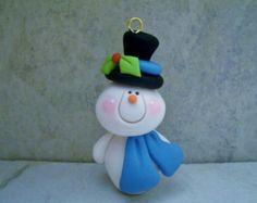 Muñeco de nieve - polímero arcilla - Navidad - vacaciones ornamento