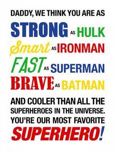 Superhero Fathers Day Card Printable