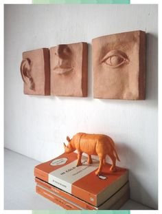 Classic terracotta triptych – louise fulton studio on etsy - Ceramic Art Pottery Sculpture, Wall Sculptures, Sculpture Art, Clay Wall Art, Clay Art, Ceramic Wall Art, Clay Tiles, Ceramic Clay, Slab Pottery