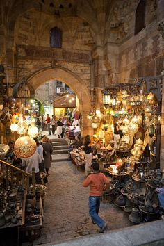Khan el Khalili market in Cairo, Egypt. This market was one of the highlights of our trip. Not the things we bought, but the sights, sounds, smells, and mostly the people.