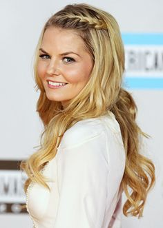 cute hairstyle - create loose waves with curling iron and make small french braid at hairline