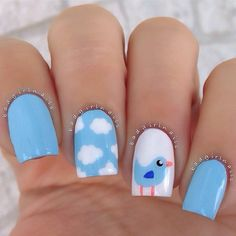 manicura dulce azul y pájaro #uñas #nail #nails #nailart