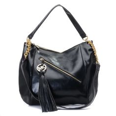 """Michael Kors Charm Tassel Convertible Shoulder Bag Black Python Products Description * Black leather. * Golden hardware. * Top handle with rings. * Buckled shoulder straps with chain accents. * Front diagonal zip pocket with MK circle logo charm tassel pull. * Zip top closure. * 14""""H x 9 3/4""""W x 3""""D."""
