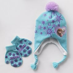 Disney Frozen Elsa & Anna Knit Earflap Hat & Mittens Set #Kohls #FrozenFriday