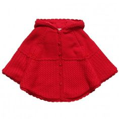 Sarah Louise Girls Red Knitted Cape at Childrensalon.com